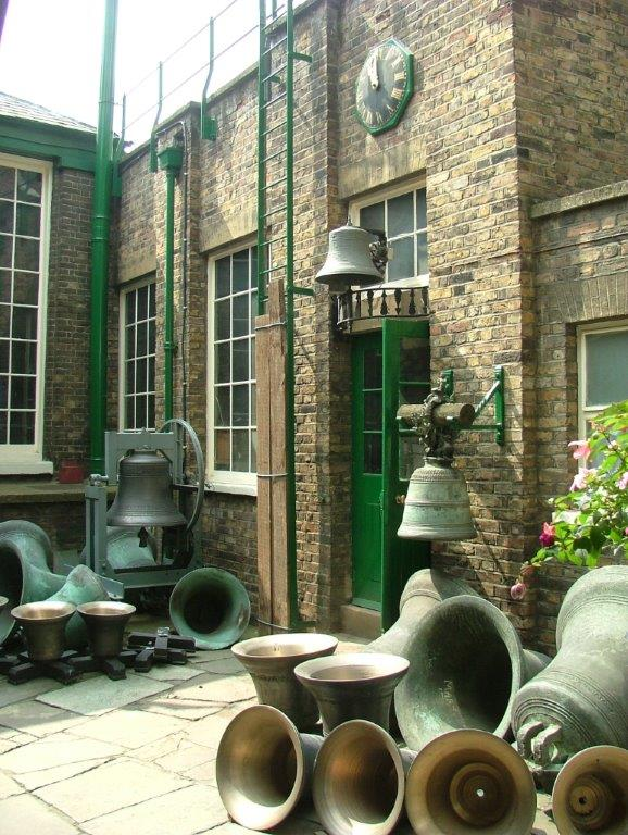 We're still in London, at the Whitechapel Bell Foundry. Here are some of their exquisite creations. Photo courtesy of Anne Guy.