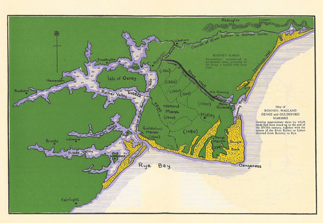 Map of Romney Marsh, and the Shingle Beach at Dungeness