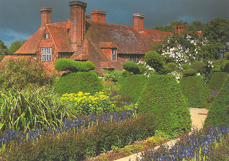 A more Dramatic View, from the Peacock Topiary Garden. Image courtesy of Great Dixter Charitable Trust.