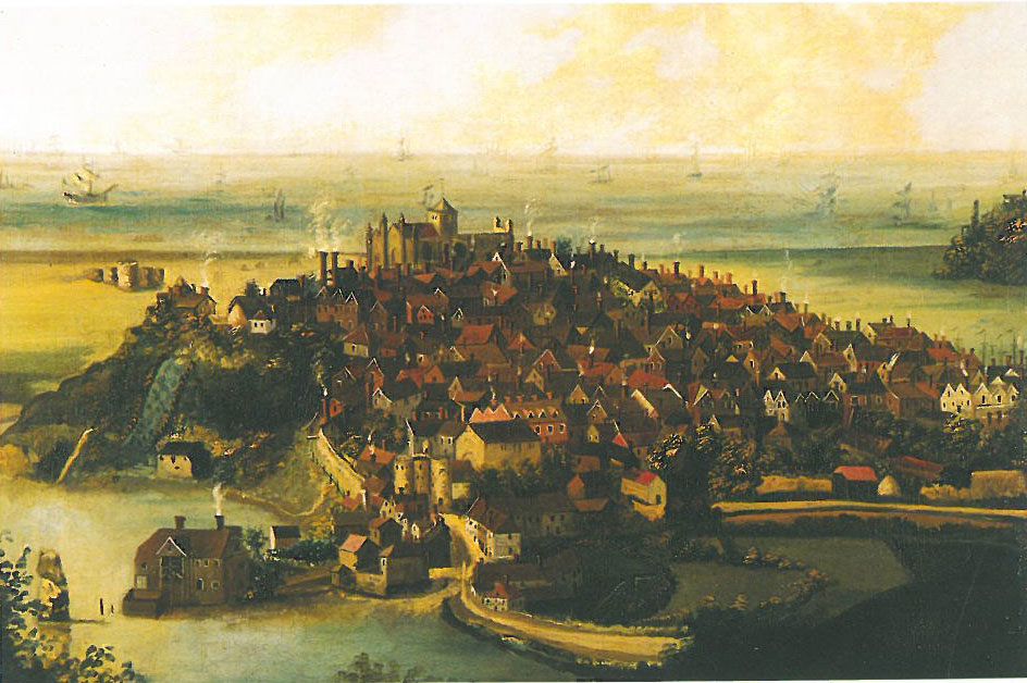 A late 17th century painting of Rye, which shows the town perched on a rocky outcrop, and surrounded by marshy fields where vast herds of sheep grazed. Image courtesy of the Rye Museum Association.