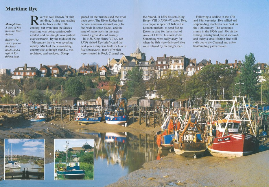 If we'd climbed down to the bottom of Conduit Hill, this would have been our view of Rye, from the narrow channel of the Rother River. The steeple of the Church of St.Mary the Virgin is at the center of the town. Image courtesy of Ann Lockhart.