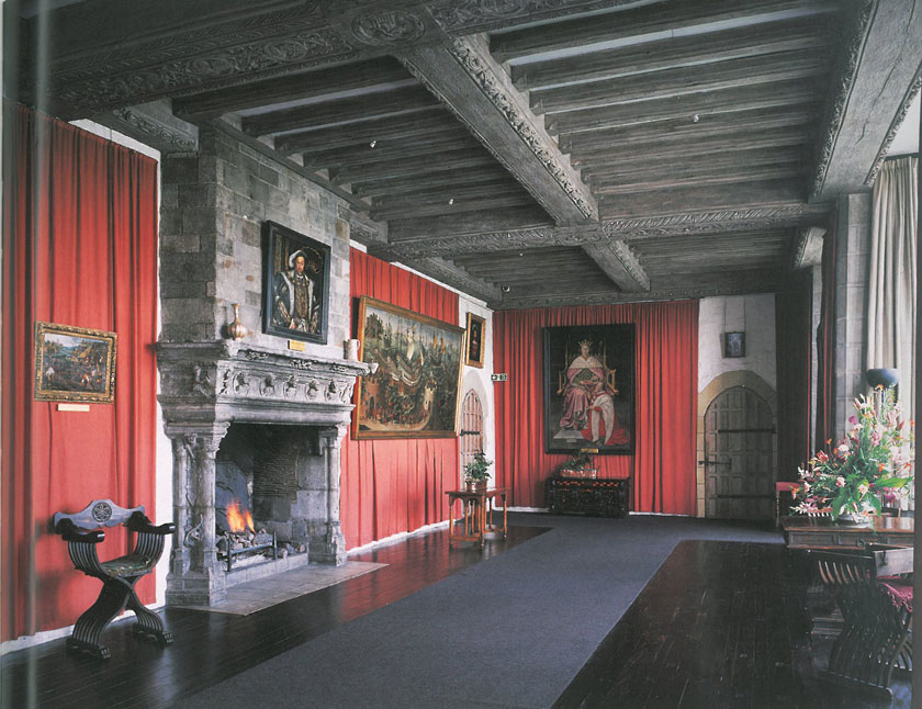 "Henry VIII's Banqueting Hall. This room was renovated for the visit of Henry VIII and his first wife Catherine, in 1520. They were en route for Dover, to embark for Henry's meeting with Francis I of France, which be called ""The Field of the Cloth of Gold."" On that little outing, Henry had an entourage of 3997 people, and his Queen dragged along 1175 additional helpers. Image courtesy of Leeds Castle."