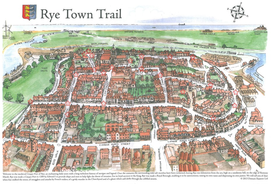 Map of the Town of Rye, in East Sussex, England.