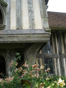 Detail of half-timbered wall, over the front entry porch.