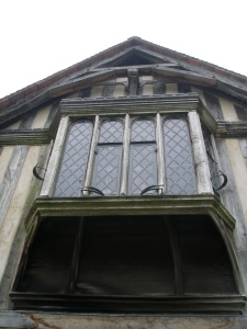 Detail of window-bay, over front entry porch