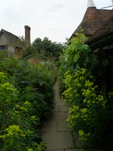 Walkway between the Sunk Garden and the Great Barn border.