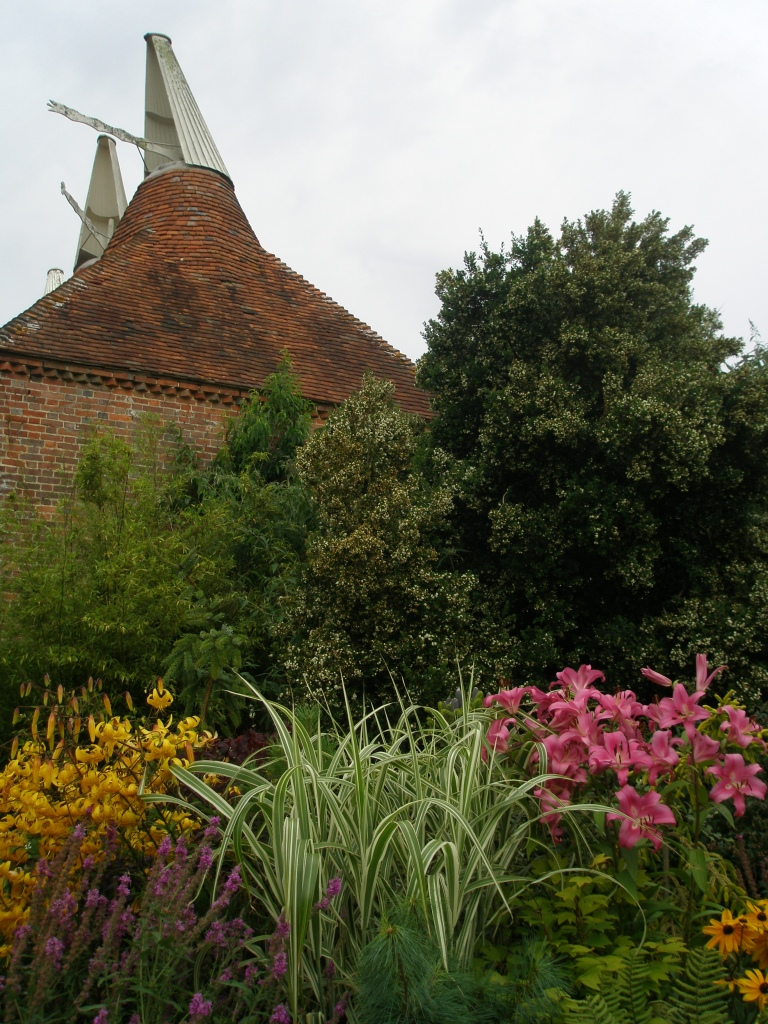 View from the Wall Garden, toward the Oast House