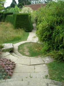 From the Circular Steps, one path leads toward the Exotic Garden (where Lutyens originally planted a rose garden).