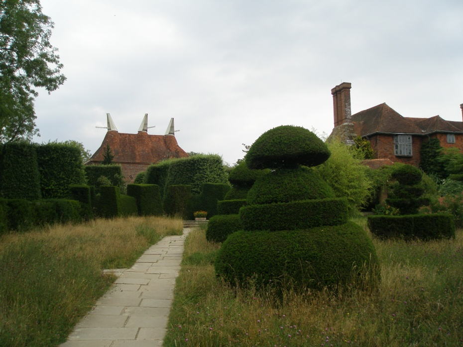 A view of the Oast House, from the Topiary Lawn.