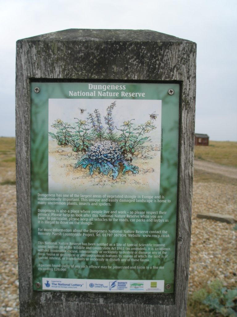 Sign for the National Nature Reserve, directly across the road from Derek Jarman's garden, on August 7, 2013.
