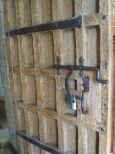 Hardware on a Chapel door.