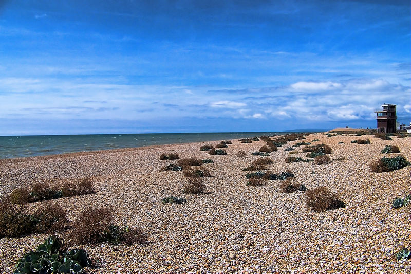 The shingle beach at Dungeness, on a day that was sunnier than ours....