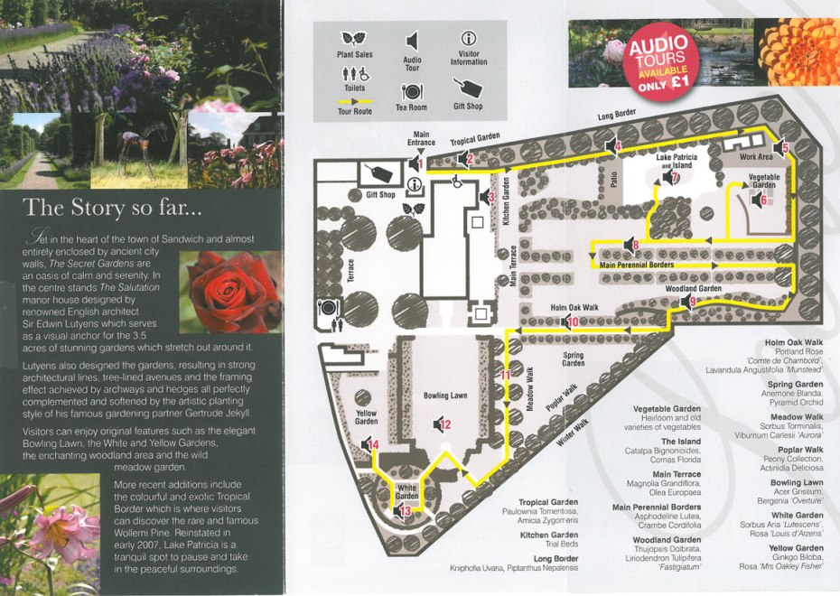 The Flip Side of the brochure, with a Map of the Gardens.