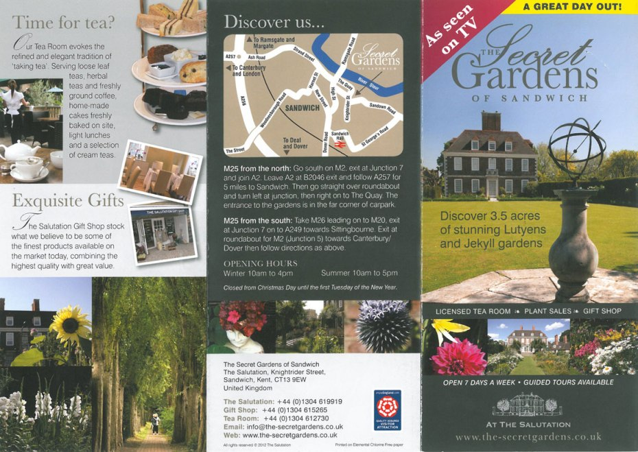 The Front Side of the Secret Gardens' brochure