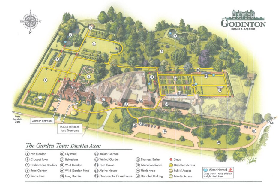 Map of Godinton's 12 acres of Gardens.