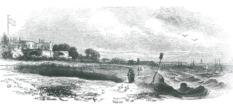 English newspapers printed this etching of Queen Victoria and Prince Albert walking along the beach at Walmer, on 25 November 1842. Image courtesy of Walmer Castle.
