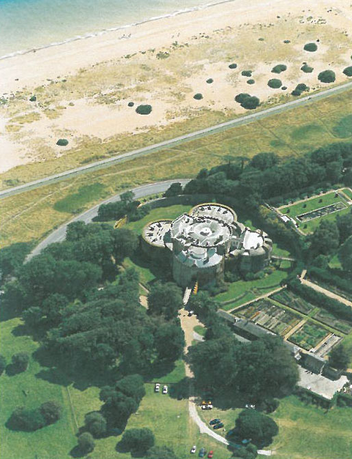 Aerial view of Walmer Castle, showing its coastal position. Image courtesy of Walmer Castle.