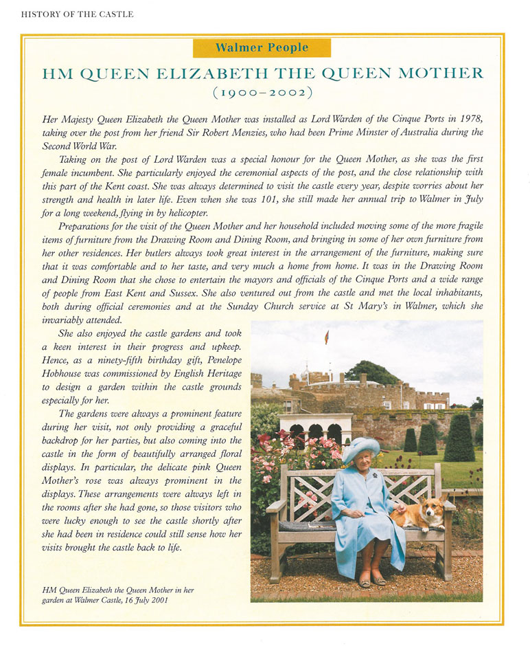 HM Elizabeth the Queen Mother took great interest in both the Castle, and its Gardens. Image courtesy of Walmer Castle.