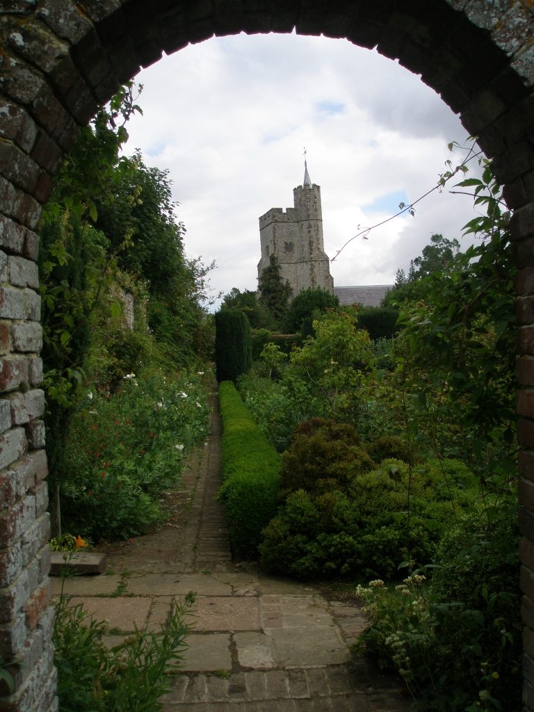 A closer look at the church tower, from within the Walled Garden.