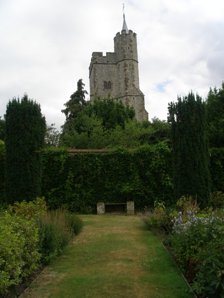 An even closer look at the spire of the nearby church, from the Walled Garden.