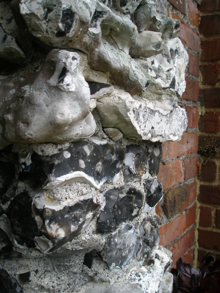 Now I'm Nose-Close, to the amazing split-flint on the Walled Garden archway.