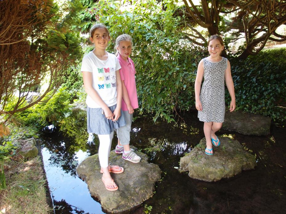 Three lovely, young ladies, who we met on the Pond's Stepping Stones.