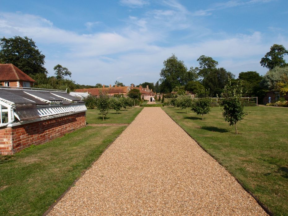In the Walled Garden, we look back toward the brick gazebo, at the edge of the Italian Garden