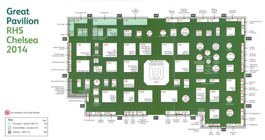 Map of the Exhibitors in the Great Pavilion, at the 2014 Chelsea Flower Show. Image courtesy of the RHS Chelsea Flower Show catalogue.