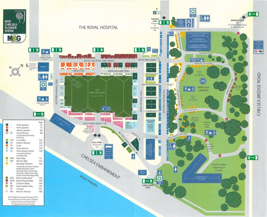 Plan of the grounds at the Chelsea Flower Show. Image courtesy of the RHS Chelsea Flower Show catalogue.