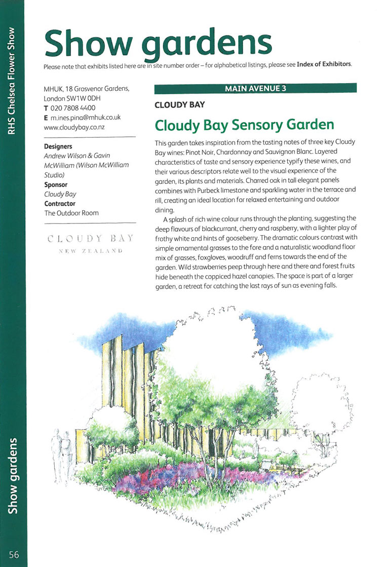 Cloudy Bay Sensory Garden. Image courtesy of the RHS Chelsea Flower Show catalogue.