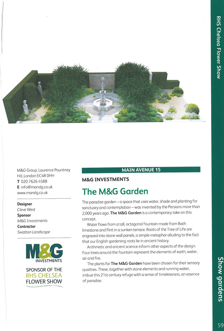 The M&G Garden. M&G has generously sponsored the Chelsea Flower Show for the past five years. Image courtesy of the RHS Chelsea Flower Show catalogue.