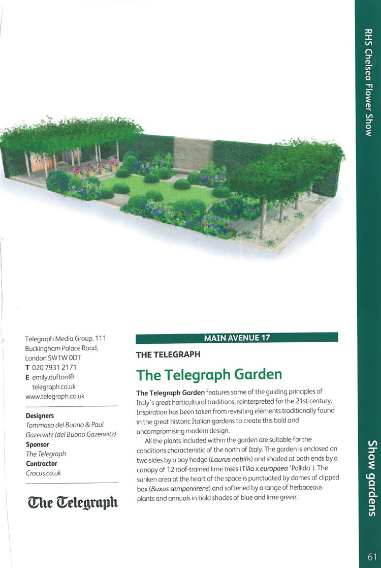 The Telegraph Garden. Image courtesy of the RHS Chelsea Flower Show catalogue.