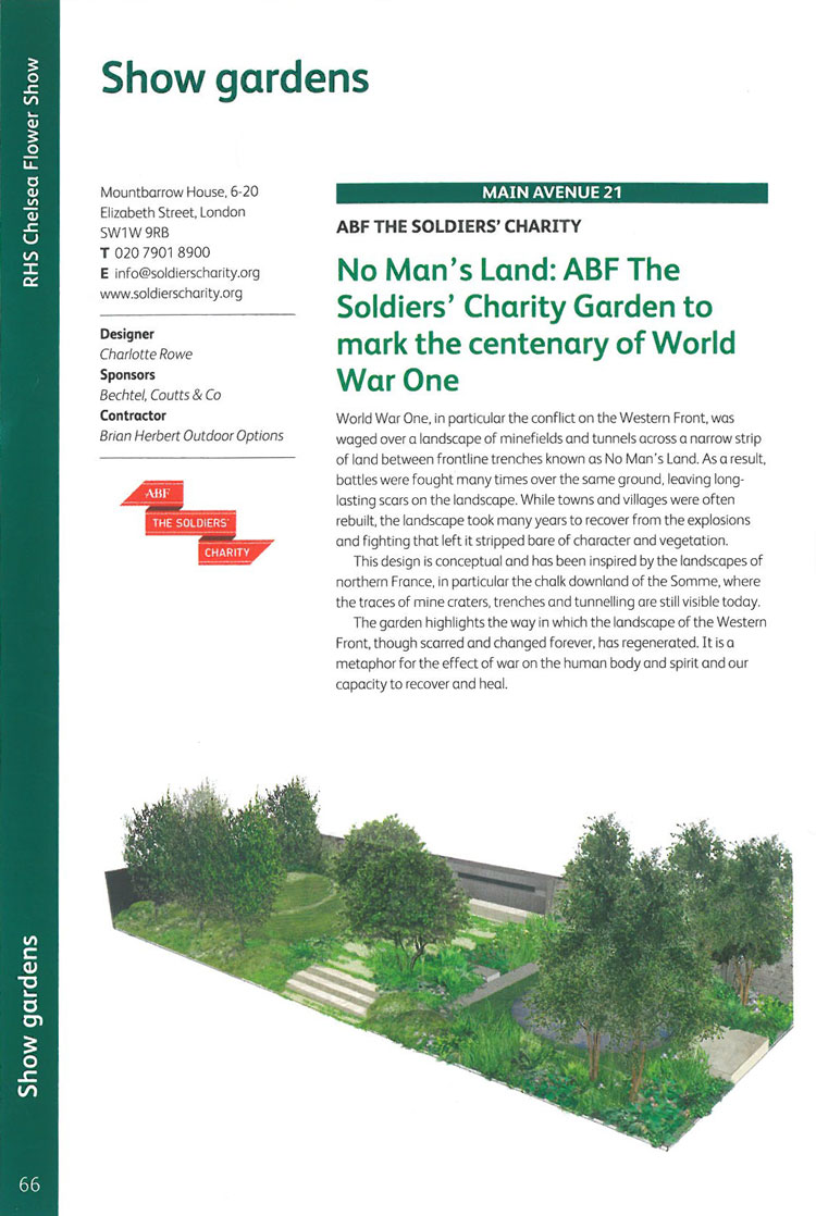 No Man's Land: ABF The Soldiers' Charity Garden. Image courtesy of the RHS Chelsea Flower Show catalogue.