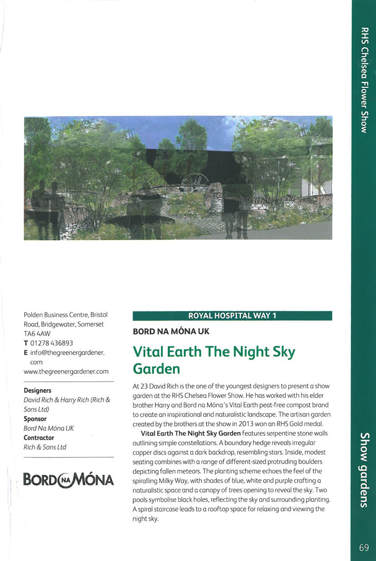 Vital Earth the Night Sky. Image courtesy of the RHS Chelsea Flower Show catalogue.