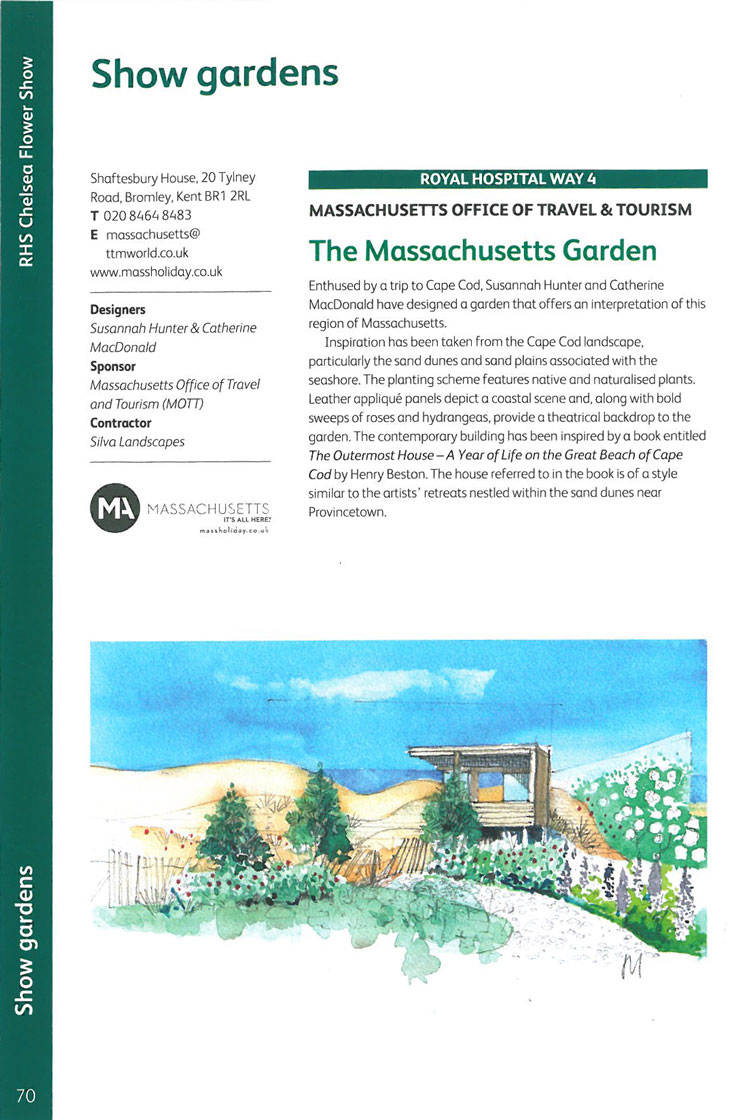 The Massachusetts Garden. Image courtesy of the RHS Chelsea Flower Show catalogue.