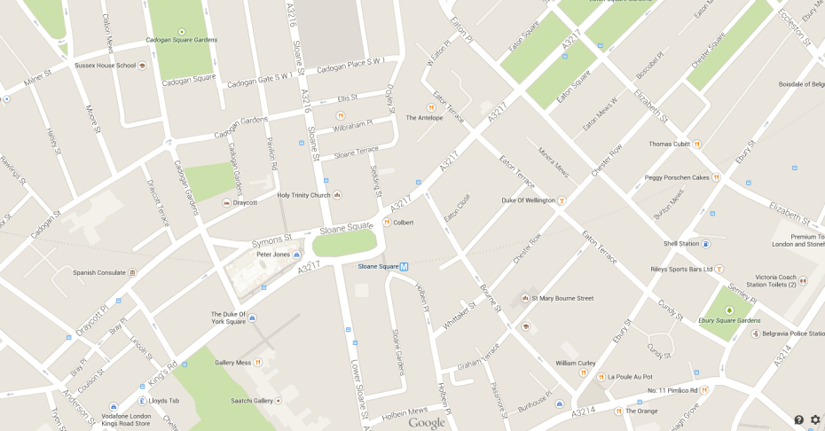 Street Map of Sloane Square neighborhood, in Chelsea, London.