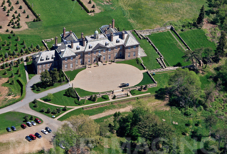 Aerial view of front entry court, and the southwest side of the Great House
