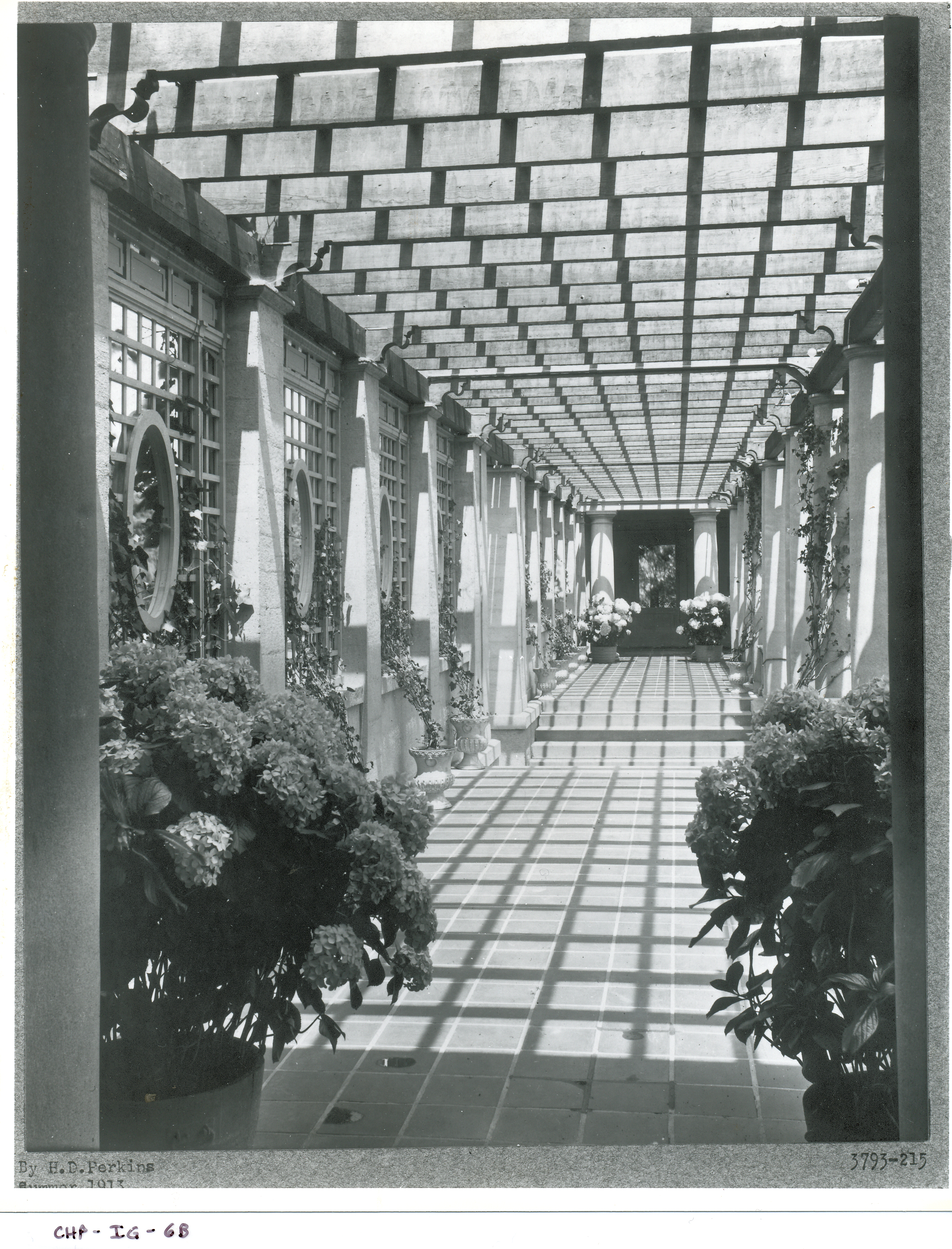 Vintage photo of those same pergola shadows, circa 1915. Image courtesy of the Trustees of Reservations, Archives & Research Center
