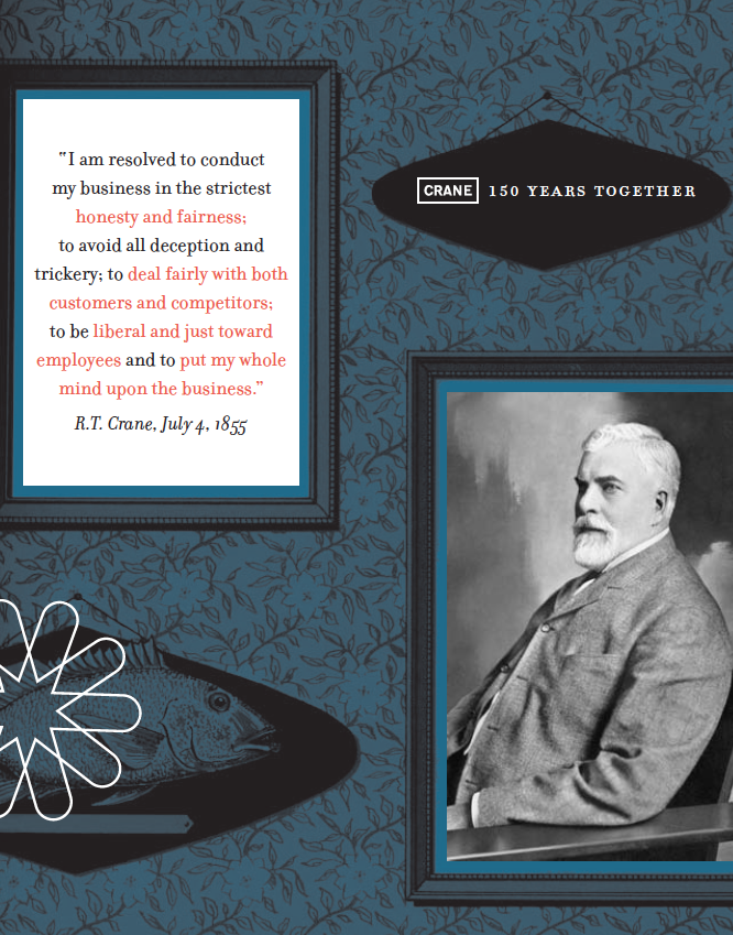R.T.Crane's Founder's Statement. Image courtesy of CRANE: 150 YEARS TOGETHER, published by the Crane Company.
