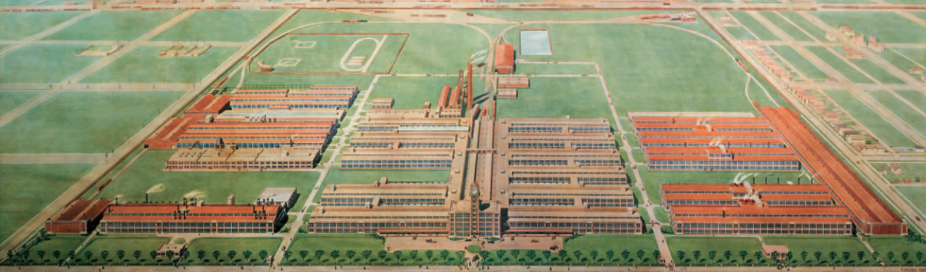 The Great Works, built by the sons of Founder Robert Teller Crane. This gargantuan complex--completed in 1912--and built upon 160 acres in Chicago--was the most modern factory of its time. Image courtesy of CRANE: 150 YEARS TOGETHER, published by the Crane Company.