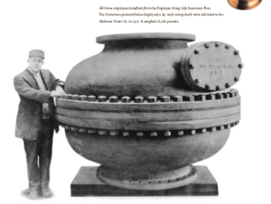 A gigantic Crane Company Valve. Image courtesy of CRANE: 150 YEARS TOGETHER published by the Crane Company.