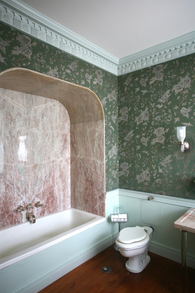 The Apricot Guest Room's bathroom. One look at the space, and I was in LOVE. The apricot-hued, book-matched marble! The silver-plated fixtures! The original green and silver Chinese wallpaper! As a connoisseur of bath-taking, I was ready to strip down and fill that tub!