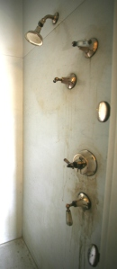 Mr. Crane's state-of-the-art, multiple-nozzle shower stall. An equal number of nozzles are on the opposite wall. All this needs now is a good scrubbing....