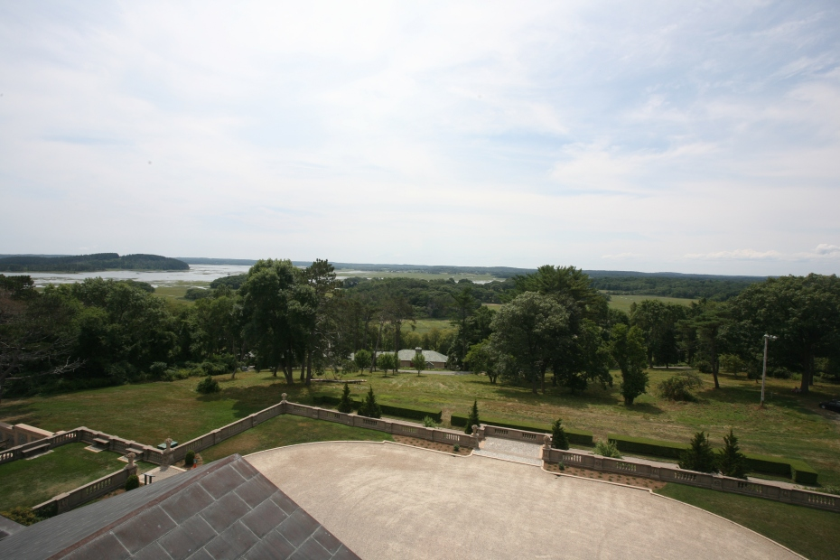 View inland from the Roof Deck, toward the southwest. A portion of the front entry court is directly below.