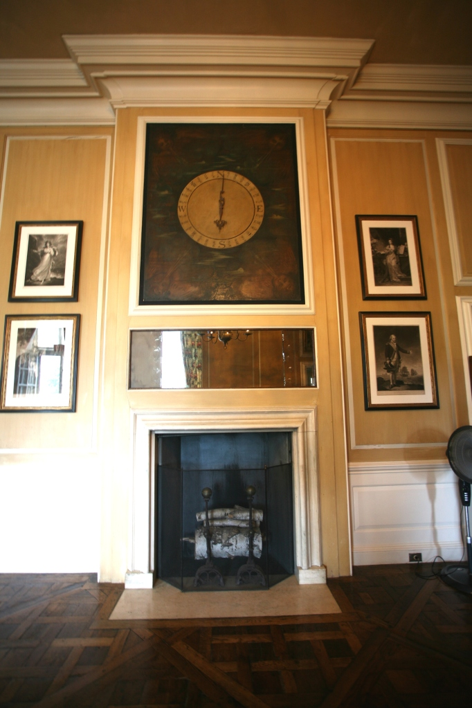 The other fireplace in The Gallery is topped by a large wind indicator. Mr.Crane and his two children were avid sailors. When the indicators showed Good Winds Blowing, the Cranes would drop everything and rush to their sailboats. There are a total of 5 wind indicators installed in the Great House, all of which were formerly connected to a weather vane atop the Cupola.