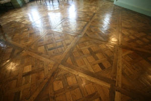 Detail of Dining Room floor, with its Parquet de Versailles pattern