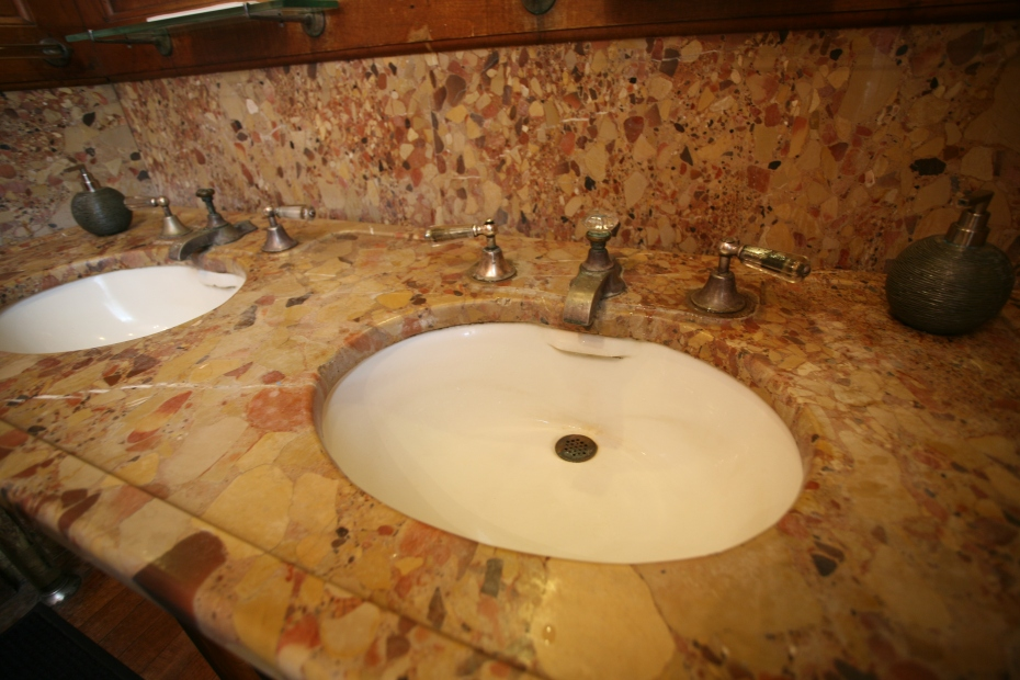 Detail of marble sink counter in what is now used as the Ladies Bathroom.