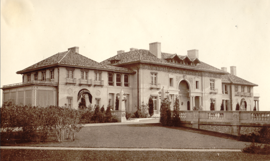 This is the southwest facing, front entry side of the Original Italian Villa, in 1912. Note the obelisks and entry drive balustrades, which are still intact, today. Image courtesy of the Trustees of Reservations, Archives & Research Center.