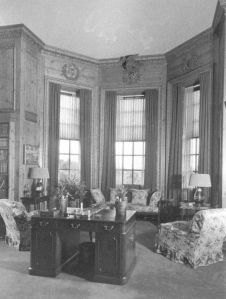 Vintage photo of the Library's bay window, which overlooks the Grand Allee. Image courtesy of the Massachusetts Historical Society.