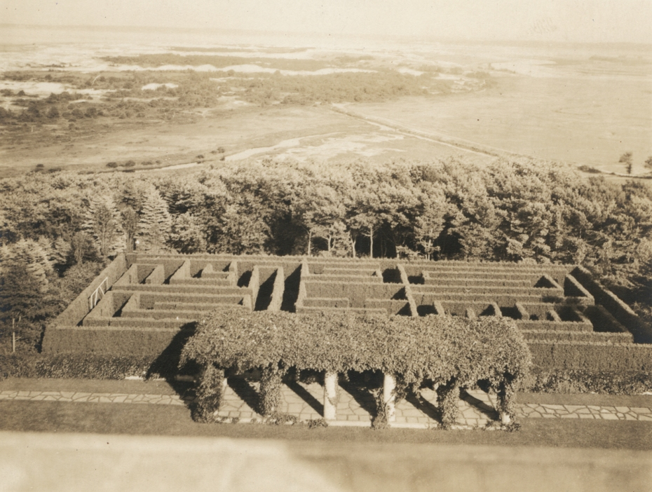 Vintage photo of the Hedge Maze, with Pergola in the foreground, circa 1920s. Image courtesy of the Trustees of Reservations, Archives & Research Center.